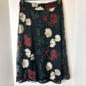 Eci New York Embroidered Rose Skirt 10